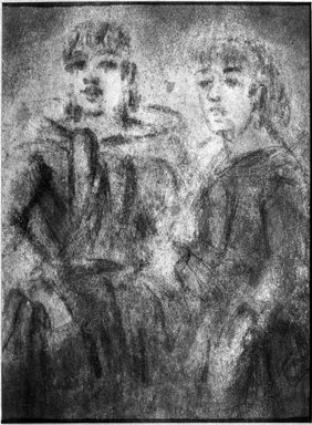 Constantin Guys (French, 1805-1892). Study of Two Women (Étude de deux femmes), n.d. Pencil, charcoal, and wash on wove paper, Sheet: 8 x 5 7/8 in. (20.3 x 14.9 cm). Brooklyn Museum, Museum Collection Fund, 29.78