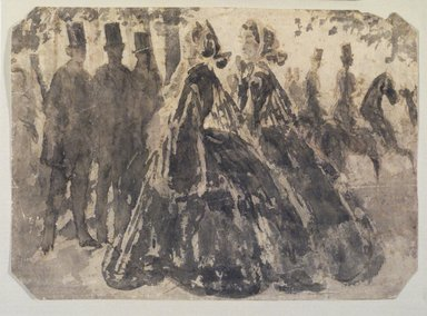 Constantin Guys (French, 1805-1892). Promenade, n.d. India ink and wash on wove paper, Sheet: 8 1/8 x 11 1/4 in. (20.6 x 28.6 cm). Brooklyn Museum, Museum Collection Fund, 29.79