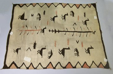 Navajo (Native American). Pictorial-style Blanket, 1880-1890. Wool, 76 x 57 in.  (193.0 x 144.8 cm). Brooklyn Museum, Gift of John Condon, 30.1068.1. Creative Commons-BY
