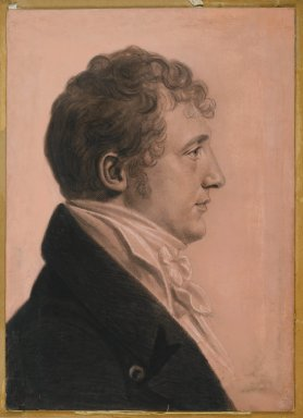 Charles Balthazar Julien Févret de Saint-Mémin (French, 1770-1852, active in America 1793-1814). James Alexander Fulton of Mount Erin, ca. 1808. Black crayon, pastel, charcoal, and white chalk on paper coated with pink opaque watercolor and pastel mounted to wood-pulp board, sheet: 21 5/16 x 15 1/4 in. (54.1 x 38.7 cm). Brooklyn Museum, Museum Collection Fund, 30.1104