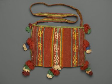 Aymara. Bag for Carrying Coca Leaves, 20th Century. Camelid fiber?, wool?, 10 1/2 x 10 1/2 in. (26.7 x 26.7 cm) not including strap and pom-poms. Brooklyn Museum, Alfred T. White Fund, 30.1165.22. Creative Commons-BY