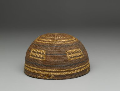 Yurok (Native American). Twined Basketry Hat. Fiber, woodwardia fern, 3 9/16 in.  (9.0 cm). Brooklyn Museum, Gift of Charlotte Elizabeth Dudley, 30.1453. Creative Commons-BY