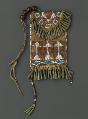 Possibly Ute (Native American). Woman's Belt Case, 1880-1890. Hide, metal, beads, pigment, width: 3 3/4 in. (9.5 cm); length: 4 3/4 in. (12.1 cm). Brooklyn Museum, Gift of Margaret S. Bedell, 30.1459.9. Creative Commons-BY
