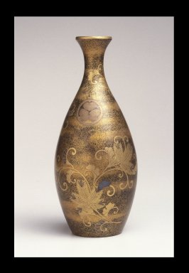 Sake Bottle, 18th century. Lacquer inlaid with gold and other metals, 8 11/16 x 3 11/16 in. (22 x 9.3 cm). Brooklyn Museum, Gift of Mrs. Frederic B. Pratt, 30.1463. Creative Commons-BY