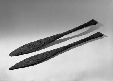 Tlingit (Native American). Flat Carved Paddle, One of Two, 19th century. Wood, 26 x 3 3/16 in. (66 x 8.1 cm). Brooklyn Museum, Gift of Charlotte Elizabeth Dudley, 30.1468.2. Creative Commons-BY