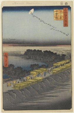 Utagawa Hiroshige (Ando) (Japanese, 1797-1858). Nihon Embankment, Yoshiwara, No. 100 from One Hundred Famous Views of Edo, 4th month of 1857. Woodblock print, Sheet: 14 3/16 x 9 1/4 in. (36 x 23.5 cm). Brooklyn Museum, Gift of Anna Ferris, 30.1478.100