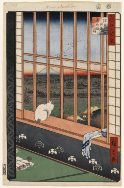 Utagawa Hiroshige (Ando) (Japanese, 1797-1858). Asakusa Ricefields and Torinomachi Festival, No. 101 from One Hundred Famous Views of Edo, 11th month of 1857. Woodblock print, Sheet: 14 3/16 x 9 1/4 in. (36 x 23.5 cm). Brooklyn Museum, Gift of Anna Ferris, 30.1478.101