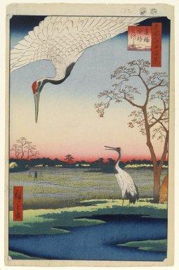 Utagawa Hiroshige (Ando) (Japanese, 1797-1858). Minowa, Kanasugi, Mikawashima, No. 102 from One Hundred Famous Views of Edo, 5th month of 1857. Woodblock print, Sheet: 14 3/16 x 9 1/4 in. (36 x 23.5 cm). Brooklyn Museum, Gift of Anna Ferris, 30.1478.102