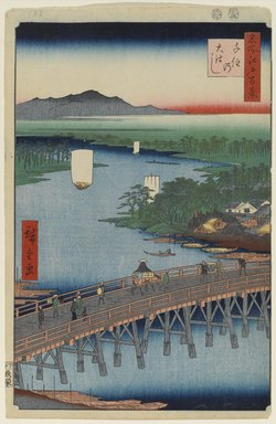 Utagawa Hiroshige (Ando) (Japanese, 1797-1858). Senju Great Bridge, No. 103 from One Hundred Famous Views of Edo, 2nd month of 1856. Woodblock print, Sheet: 14 3/16 x 9 1/4 in. (36 x 23.5 cm). Brooklyn Museum, Gift of Anna Ferris, 30.1478.103
