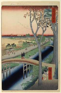 Utagawa Hiroshige (Ando) (Japanese, 1797-1858). Koume Embankment, No. 104 from One Hundred Famous Views of Edo, 2nd month of 1857. Woodblock print, Sheet: 14 3/16 x 9 1/4 in. (36 x 23.5 cm). Brooklyn Museum, Gift of Anna Ferris, 30.1478.104