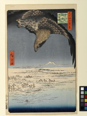 Utagawa Hiroshige (Ando) (Japanese, 1797-1858). Fukagawa Susaki and Jumantsubo, No. 107 from One Hundred Famous Views of Edo, 5th month of 1857. Woodblock print, Sheet: 14 3/16 x 9 1/4 in. (36 x 23.5 cm). Brooklyn Museum, Gift of Anna Ferris, 30.1478.107