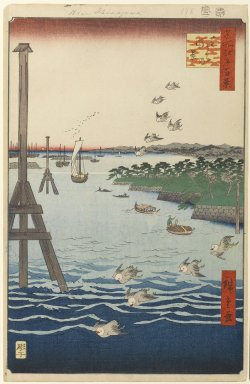 Utagawa Hiroshige (Ando) (Japanese, 1797-1858). View of Shiba Coast, No. 108 from One Hundred Famous Views of Edo, 2nd month of 1856. Woodblock print, Sheet: 14 3/16 x 9 1/4 in. (36 x 23.5 cm). Brooklyn Museum, Gift of Anna Ferris, 30.1478.108
