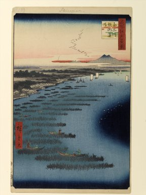 Utagawa Hiroshige (Ando) (Japanese, 1797-1858). Minami-Shinagawa and Samezu Coast, No. 109 from One Hundred Famous Views of Edo, 2nd month of 1857. Woodblock print, Sheet: 14 3/16 x 9 1/4 in. (36 x 23.5 cm). Brooklyn Museum, Gift of Anna Ferris, 30.1478.109