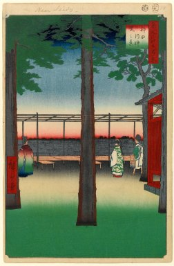 Utagawa Hiroshige (Ando) (Japanese, 1797-1858). Dawn at Kanda Myojin Shrine, No. 10 in One Hundred Famous Views of Edo, 9th month of 1857. Woodblock print, Image: 13 1/4 x 8 7/8 in. (33.7 x 22.5 cm). Brooklyn Museum, Gift of Anna Ferris, 30.1478.10