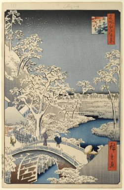 Utagawa Hiroshige (Ando) (Japanese, 1797-1858). Meguro Drum Bridge and Sunset Hill, No. 111 from One Hundred Famous Views of Edo, 4th month of 1857. Woodblock print, Sheet: 14 3/16 x 9 1/4 in. (36 x 23.5 cm). Brooklyn Museum, Gift of Anna Ferris, 30.1478.111