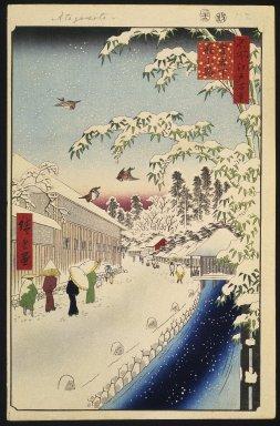 Utagawa Hiroshige (Ando) (Japanese, 1797-1858). Atagoshita and Yabu Lane, No. 112 from One Hundred Famous Views of Edo, 12th month of 1857. Woodblock print, Sheet: 14 3/16 x 9 1/4 in. (36 x 23.5 cm). Brooklyn Museum, Gift of Anna Ferris, 30.1478.112