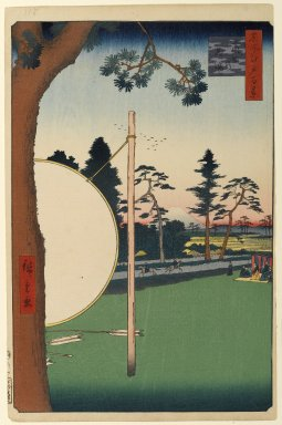 Utagawa Hiroshige (Ando) (Japanese, 1797-1858). Takata Riding Grounds, No. 115 from One Hundred Famous Views of Edo, 2nd month of 1857. Woodblock print, sheet:  14 3/16 x 9 1/4 in.  (36.0 x 23.5 cm);. Brooklyn Museum, Gift of Anna Ferris, 30.1478.115
