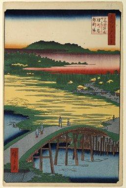 Utagawa Hiroshige (Ando) (Japanese, 1797-1858). Sugatami Bridge, Omokage Bridge, and Jariba at Takata, No. 116 from One Hundred Famous Views of Edo, 1st month of 1857. Woodblock print, Sheet: 14 3/16 x 9 1/4 in. (36 x 23.5 cm). Brooklyn Museum, Gift of Anna Ferris, 30.1478.116
