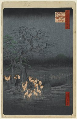 Utagawa Hiroshige (Ando) (Japanese, 1797-1858). New Year's Eve Foxfires at the Changing Tree, Oji, No. 118 from One Hundred Famous Views of Edo, 9th month of 1857. Woodblock print, sheet:  14 3/16 x 9 1/4 in.  (36.0 x 23.5 cm);. Brooklyn Museum, Gift of Anna Ferris, 30.1478.118