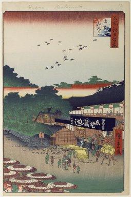 Utagawa Hiroshige (Ando) (Japanese, 1797-1858). Ueno Yamashita, No. 12 in One Hundred Famous Views of Edo, 10th month of 1858. Woodblock print, Image: 13 3/16 x 8 3/4 in. (33.5 x 22.2 cm). Brooklyn Museum, Gift of Anna Ferris, 30.1478.12