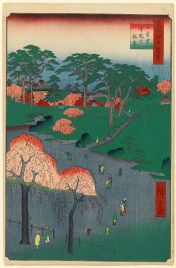 Utagawa Hiroshige (Ando) (Japanese, 1797-1858). Temple Gardens, Nippori, No. 14 in One Hundred Famous Views of Edo, 2nd month of 1857. Woodblock print, Image: 13 3/8 x 9 in. (34 x 22.9 cm). Brooklyn Museum, Gift of Anna Ferris, 30.1478.14