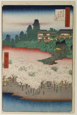 Utagawa Hiroshige (Ando) (Japanese, 1797-1858). Flower Pavilion, Dango Slope, Sendagi, No. 16 in One Hundred Famous Views of Edo, 5th month of 1856. Woodblock print, Image: 13 1/2 x 8 7/8 in. (34.3 x 22.5 cm). Brooklyn Museum, Gift of Anna Ferris, 30.1478.16
