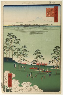 Utagawa Hiroshige (Ando) (Japanese, 1797-1858). View to the North From Asukayama, No. 17 in One Hundred Famous Views of Edo, 5th month of 1856. Woodblock print, Image: 13 3/8 x 8 3/4 in. (34 x 22.2 cm). Brooklyn Museum, Gift of Anna Ferris, 30.1478.17