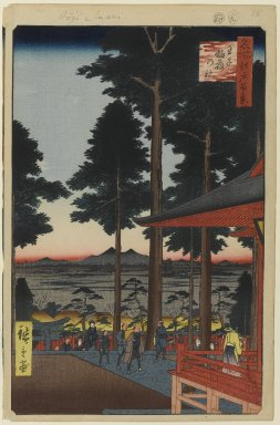 Utagawa Hiroshige (Ando) (Japanese, 1797-1858). Oji Inari Shrine, No. 18 in One Hundred Famous Views of Edo, 9th month of 1857. Woodblock print, Image: 13 3/16 x 8 5/8 in. (33.5 x 21.9 cm). Brooklyn Museum, Gift of Anna Ferris, 30.1478.18