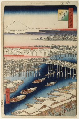 Utagawa Hiroshige (Ando) (Japanese, 1797-1858). Nihonbashi, Clearing After Snow, No. 1 in One Hundred Famous Views of Edo, 5th month of 1856. Woodblock print, Image: 13 3/8 x 8 3/4 in. (34 x 22.2 cm). Brooklyn Museum, Gift of Anna Ferris, 30.1478.1