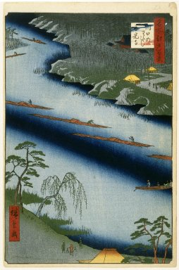 Utagawa Hiroshige (Ando) (Japanese, 1797-1858). The Kawaguchi Ferry and Zenkoji Temple, No. 20 in One Hundred Famous Views of Edo, 2nd month of 1857. Woodblock print, Image: 13 3/8 x 9 in. (34 x 22.9 cm). Brooklyn Museum, Gift of Anna Ferris, 30.1478.20