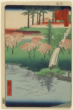 Utagawa Hiroshige (Ando) (Japanese, 1797-1858). Chiyogaike Pond, Meguro, No. 23 in One Hundred Famous Views of Edo, 7th month of 1856. Woodblock print, Image: 13 5/16 x 8 3/4 in. (33.8 x 22.2 cm). Brooklyn Museum, Gift of Anna Ferris, 30.1478.23