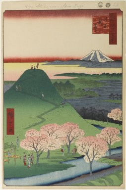 Utagawa Hiroshige (Ando) (Japanese, 1797-1858). New Fuji, Meguro, No. 24 in One Hundred Famous Views of Edo, 4th month of 1857. Woodblock print, Image: 13 7/16 x 9 in. (34.1 x 22.9 cm). Brooklyn Museum, Gift of Anna Ferris, 30.1478.24