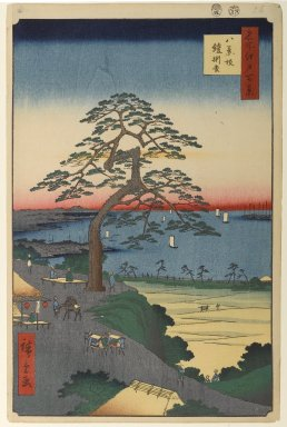 Utagawa Hiroshige (Ando) (Japanese, 1797-1858). Armor-Hanging Pine, Hakkeisaka, No. 26 in One Hundred Famous Views of Edo, 5th month of 1856. Woodblock print, Image: 13 11/16 x 8 7/8 in. (34.8 x 22.5 cm). Brooklyn Museum, Gift of Anna Ferris, 30.1478.26