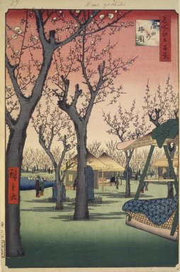 Utagawa Hiroshige (Ando) (Japanese, 1797-1858). Plum Garden, Kamata (Kamata no Umezono), No. 27 from One Hundred Famous Views of Edo, 2nd month of1857. Woodblock print, Image: 13 3/8 x 9 in. (34 x 22.9 cm). Brooklyn Museum, Gift of Anna Ferris, 30.1478.27