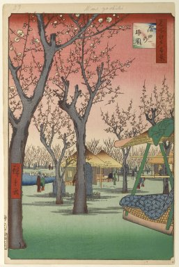 Brooklyn Museum: Plum Garden, Kamata (Kamata no Umezono), No. 27 from One Hundred Famous Views of Edo