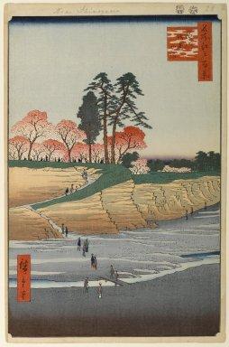 Utagawa Hiroshige (Ando) (Japanese, 1797-1858). Gotenyama, Shinagawa, No. 28 in One Hundred Famous Views of Edo, 4th month of 1856. Woodblock print, Image: 13 11/16 x 9 in. (34.8 x 22.9 cm). Brooklyn Museum, Gift of Anna Ferris, 30.1478.28