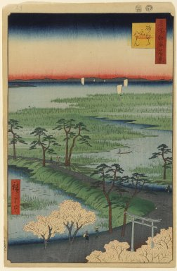 Utagawa Hiroshige (Ando) (Japanese, 1797-1858). Moto-Hachiman Shrine, Sumamura, No. 29 in One Hundred Famous Views of Edo, 4th month of 1856. Woodblock print, Image: 13 3/8 x 9 in. (34 x 22.9 cm). Brooklyn Museum, Gift of Anna Ferris, 30.1478.29