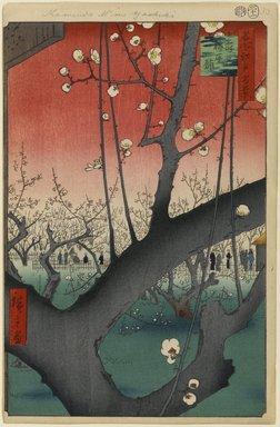 Utagawa Hiroshige (Ando) (Japanese, 1797-1858). Plum Estate, Kameido (Kameido Umeyashiki), No. 30 from One Hundred Famous Views of Edo, 11th month of 1857. Woodblock print, Sheet: 14 3/16 x 9 1/4 in. (36 x 23.5 cm). Brooklyn Museum, Gift of Anna Ferris, 30.1478.30