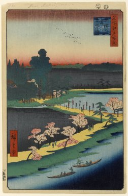 Utagawa Hiroshige (Ando) (Japanese, 1797-1858). Asuma Shrine and the Entwined Camphor, No. 31 in One Hundred Famous Views of Edo, 7th month of 1857. Woodblock print, Image: 13 3/8 x 8 3/4 in. (34 x 22.2 cm). Brooklyn Museum, Gift of Anna Ferris, 30.1478.31