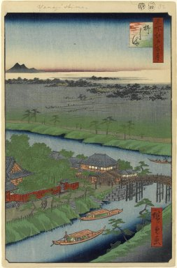 Utagawa Hiroshige (Ando) (Japanese, 1797-1858). Yanagishima, No. 32 in One Hundred Famous Views of Edo, 4th month of 1857. Woodblock print, Image: 13 3/8 x 9 in. (34 x 22.9 cm). Brooklyn Museum, Gift of Anna Ferris, 30.1478.32
