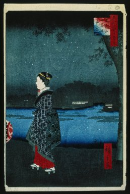 Utagawa Hiroshige (Ando) (Japanese, 1797-1858). Night View of the Matsuchiyama and Sam'ya Canal (Matsuchiyama San'yabori Yakei), No. 34 from One Hundred Famous Views of Edo, 8th month of 1857. Woodblock print, Sheet: 14 3/16 x 9 1/4 in. (36 x 23.5 cm). Brooklyn Museum, Gift of Anna Ferris, 30.1478.34