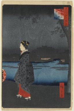 Utagawa Hiroshige (Ando) (Japanese, 1797-1858). Night View of the Matsuchiyama and Sam'ya Canal (Matsuchiyama San'yabori Yakei), No. 34 from One Hundred Famous Views of Edo, 8th month of 1857. Woodblock print, Sheet: 14 3/16 x 9 1/4 in. (36 x 23.5 cm). Brooklyn Museum, Gift of Anna Ferris, 30.1478.34