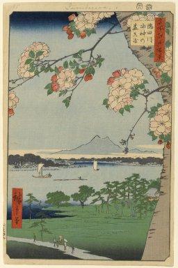 Utagawa Hiroshige (Ando) (Japanese, 1797-1858). Suijin Shrine and Massaki on the Sumida River (Sumidagawa Suijin no Mori Massaki), No. 35 from One Hundred Famous Views of Edo, 8th month of 1856. Woodblock print, Sheet: 14 3/16 x 9 1/4 in. (36 x 23.5 cm). Brooklyn Museum, Gift of Anna Ferris, 30.1478.35