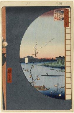 Utagawa Hiroshige (Ando) (Japanese, 1797-1858). View From Massaki of Suijin Shrine, Uchigawa Inlet, and Sekiya, No. 36 in One Hundred Famous Views of Edo, 8th month of 1857. Woodblock print, 14 1/4 x 9 1/4 in. (36.2 x 23.5 cm). Brooklyn Museum, Gift of Anna Ferris, 30.1478.36