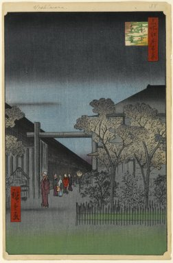 Utagawa Hiroshige (Ando) (Japanese, 1797-1858). Dawn Inside the Yoshiwara, No. 38 in One Hundred Views of Edo, 4th month of 1857. Woodblock print, Sheet: 14 1/4 x 9 5/16 in. (36.2 x 23.7 cm). Brooklyn Museum, Gift of Anna Ferris, 30.1478.38