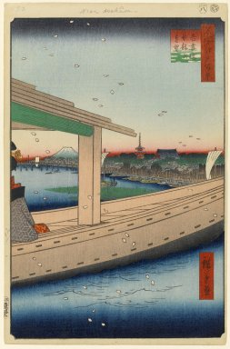Utagawa Hiroshige (Ando) (Japanese, 1797-1858). Distant View of Kinryuzan Temple and Azuma Bridge (Azumabashi Kinryuzan Enbo), No. 39 from One Hundred Famous Views of Edo, 8th month of 1857. Woodblock print, 14 1/4 x 9 5/16in. (36.2 x 23.7cm). Brooklyn Museum, Gift of Anna Ferris, 30.1478.39