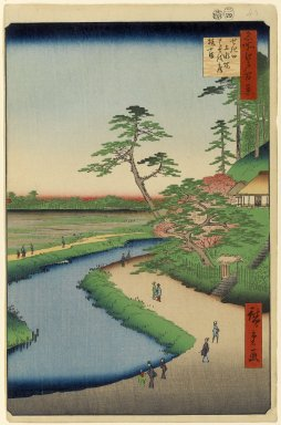 Utagawa Hiroshige (Ando) (Japanese, 1797-1858). Basho's Hermitage and Camellia Hill on the Kanda Aqueduct at Sekiguchi, No. 40 in One Hundred Famous Views of Edo, 4th month of 1857. Woodblock print, 14 5/16 x 9 5/16in. (36.4 x 23.7cm). Brooklyn Museum, Gift of Anna Ferris, 30.1478.40