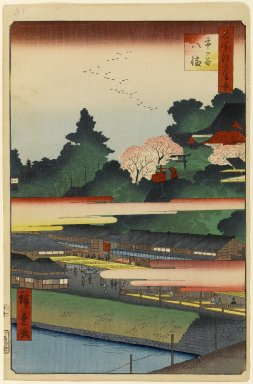 Utagawa Hiroshige (Ando) (Japanese, 1797-1858). Ichigaya Hachiman Shrine, No. 41 in One Hundred Famous Views of Edo, 10th month of 1858. Woodblock print, 14 3/16 x 9 5/16in. (36 x 23.7cm). Brooklyn Museum, Gift of Anna Ferris, 30.1478.41