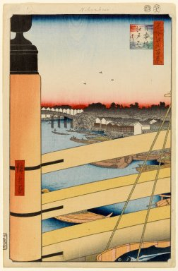 Utagawa Hiroshige (Ando) (Japanese, 1797-1858). Nihonbashi Bridge and Edobashi Bridge (Nihonbashi to Edobashi), No. 43 from One Hundred Famous Views of Edo, 12th month of 1857. Woodblock print, 14 1/4 x 9 1/4in. (36.2 x 23.5cm). Brooklyn Museum, Gift of Anna Ferris, 30.1478.43