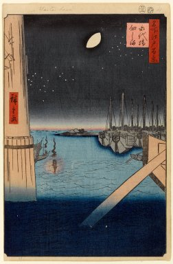 Utagawa Hiroshige (Ando) (Japanese, 1797-1858). Tsukudajima From Eitai Bridge, No. 4 in One Hundred Famous Views of Edo, 2nd month of 1857. Woodblock print, Image: 13 3/8 x 9 in. (34 x 22.9 cm). Brooklyn Museum, Gift of Anna Ferris, 30.1478.4